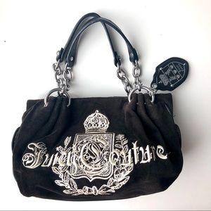 Juicy Couture Black Velour Shoulder Bag Purse
